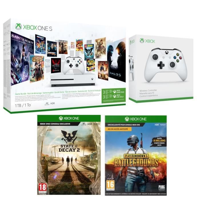 Xbox One S 1 To Game Pass + 2e Manette sans fil + State of Decay 2 + PUBG