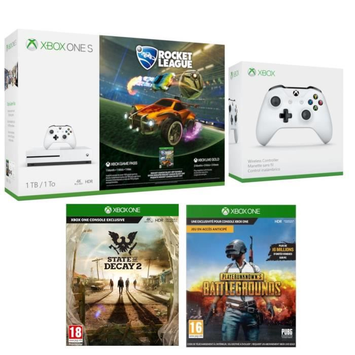 Xbox One S 1 To Rocket League + 2e Manette sans fil + State of Decay 2 + PUBG