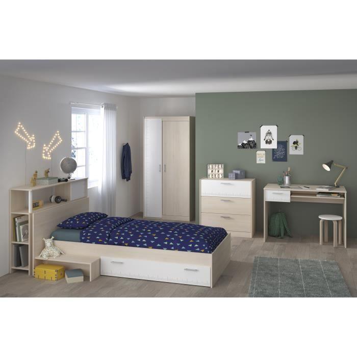 CHARLEMAGNE Chambre enfant complète - Tête de lit + lit + commode + armoire + bureau - contemporain