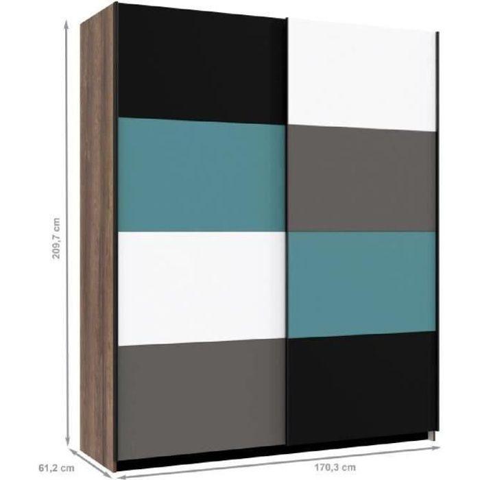 Panneaux particules multicolore - L170,3 x P61,2 x H209,7 cm - 2 portes coulissantes - Fabrication européenneARMOIRE DE CHAMBRE