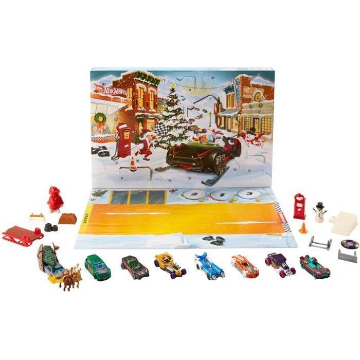 HOT WHEELS Calendrier De L'Avent - FYN46 - 8 petites voitures et 16 accessoires