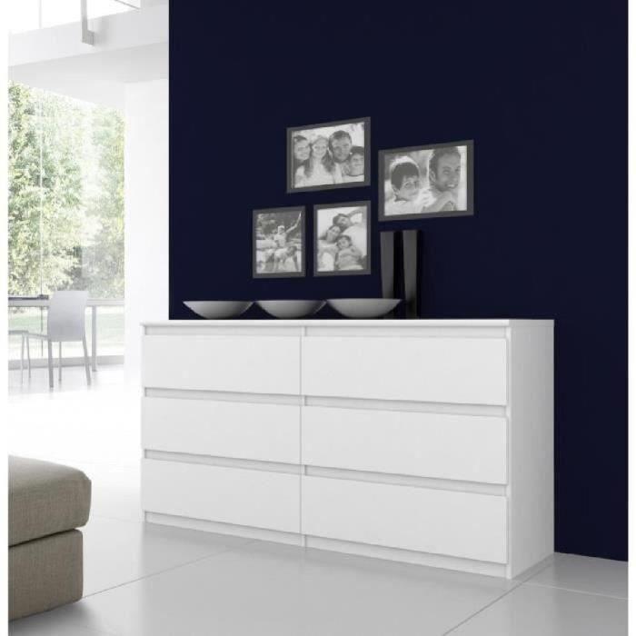 FINLANDEK Commode de chambre NATTI style contemporain blanc brillant - L 154 cm