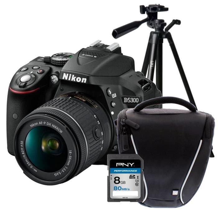NIKON D5300 + AF-P 18-55VR Appareil photo reflex avec objectif Noir + Carte 8Go + Sacoche + Trepied