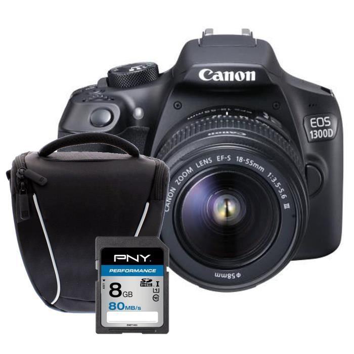 Pack Débutant : CANON EOS 1300D + EF-S 18-55mm DC III Appareil photo Reflex + Carte 8Go + Sacoche