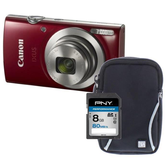 Pack CANON IXUS 175 Appareil photo numérique Compact Rouge  Zoom X16 - 20,2 mégapixels - + Carte 8Go + Etui