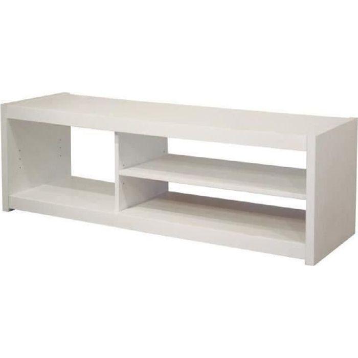 Panneaux particules Blanc - L 125 x P 41 x H 36 cm - 1 grand rayon réglable, 1 niche - Fabrication françaiseMEUBLE TV - MEUBLE HI-FI