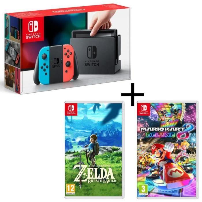 Console Nintendo Switch avec paire de joy-con bleu néon / rouge néon + Mario Kart 8 Deluxe + The Legend of Zelda Breath of the Wild