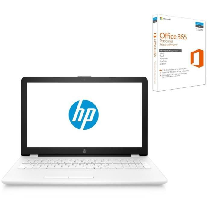 Hp pc portable notebook bs080nf 156 ram 4go core i5 7200u amd radeon 520 stockage 1to office 365