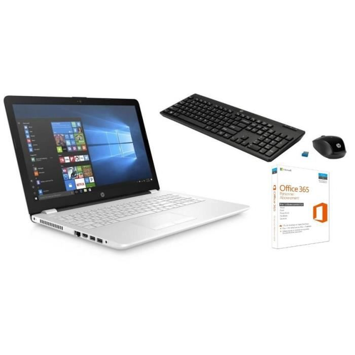 Hp pc portable hp15bs113nf 15.6 ram 4go core i5 8250u intel hd 620 stockage 1to claviersouris 200 office 365