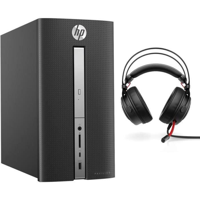 HP Pavilion PC de bureau GAMER - 570p035nf - 8 Go de RAM - Intel Core I5 - NVIDIA GTX 1050 - Stockage 1 To + SSD 128GB + Casque Omen