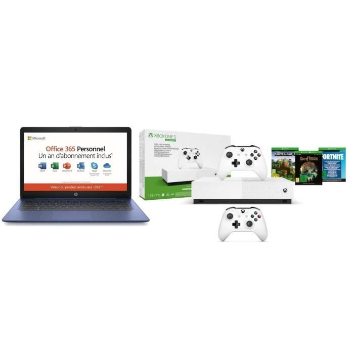 Hp pc portable 14hd a4 ram 4go stock 32go office 365 inclus xbox one s all digital 3 jeux manette xbox