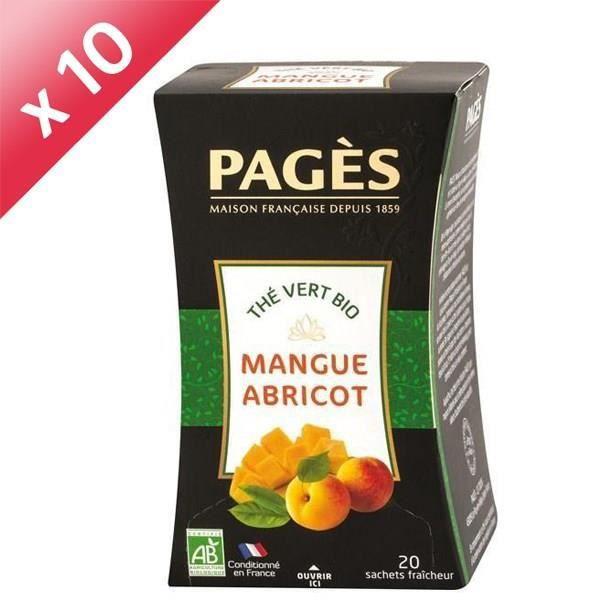 PAGES Lot de 10 Thés Vert Mangue Abricot Bio