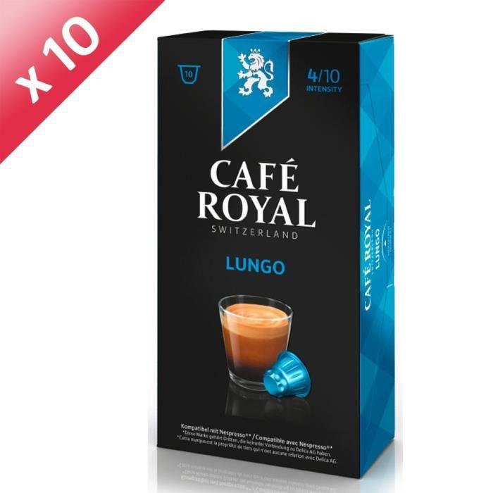 Lot de 100 capsules Café Royal Lungo Capsules Compatibles Système Nespresso ®