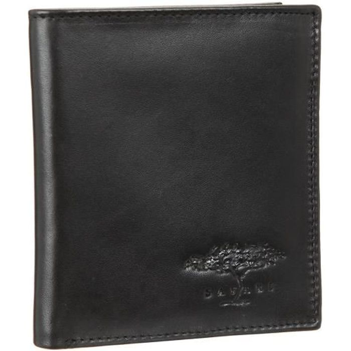 Cuir lisse - Noir - Fermeture à rabat - Poche monnaie zippée - Dimensions : 9x10,5 cmPORTE MONNAIE