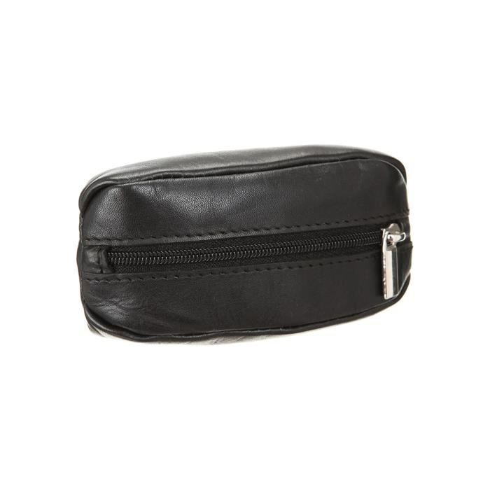 Cuir lisse - Noir - 2 poches zippées et anneaux porte-clés - Dimensions : 11x5 cmPORTE MONNAIE
