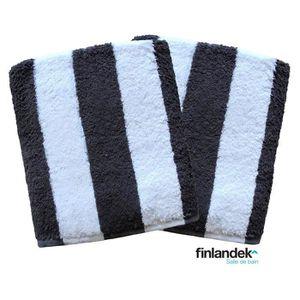 FINLANDEK Lot de 2 serviettes de toilette 50x100 cm rayées noir
