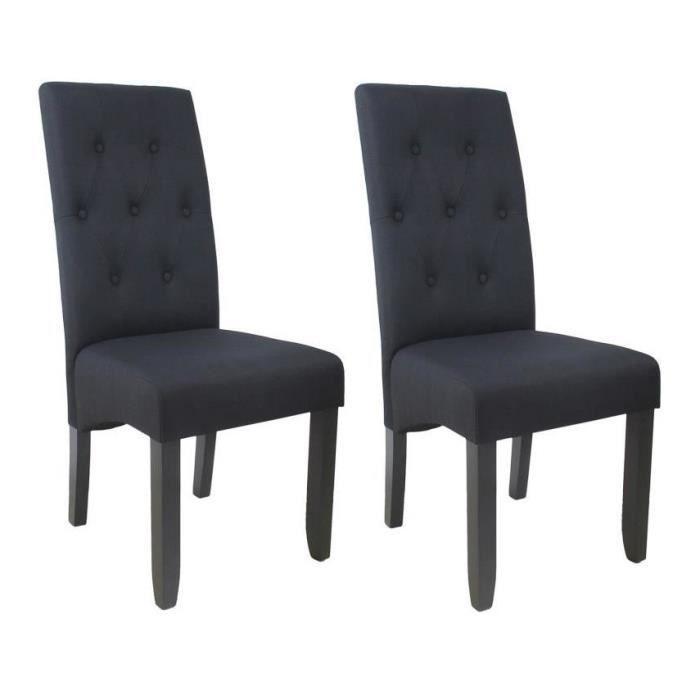 CUBA Lot de 2 chaises de salle à manger - Tissu noir - Style contemporain - L 49 x P 65 cm