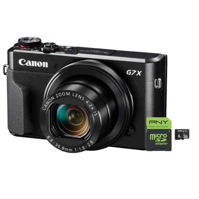 CANON PowerShot G7X MKII Appareil photo numérique compact 20 Mpx + PNY Performance Carte mémoire Micro SDHC 8 Go