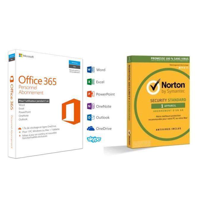 Pack contenant : Office 365 Personnel - Inclut les nouveaux logiciels Office 2016 pour 1 PC/Mac + 1 tablette + 1 smartphone pendant 1 an + Antivirus Norton Security 2018 Standard (1 appareil / 1 an) ATTLOGICIEL BUREAUTIQUE