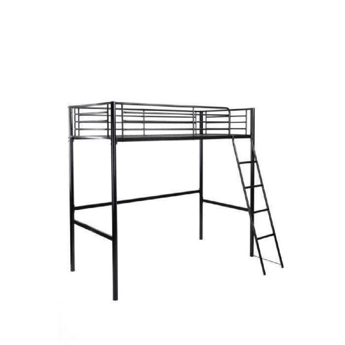 FINLANDEK Lit mezzanine enfant LEIJONA avec sommier - Style contemporain - En tubes d'acier laqués époxy noir - L 200 x P 98 cm