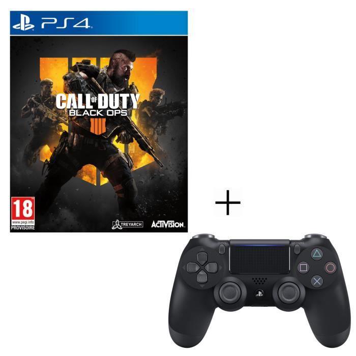 Pack Call Of Duty Black Ops 4 + Manette PS4 DualShock 4 Noire V2 + Voucher Fortnite