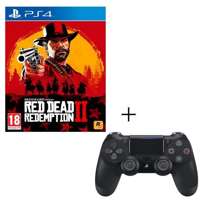 Pack Red Dead Redemption 2 + Manette PS4 DualShock 4 Noire V2 + Voucher Fortnite