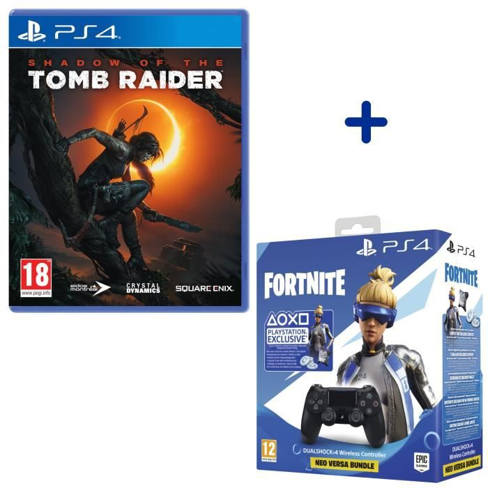 Shadow Of The Tomb Raider + Manette PS4 DualShock 4 Noire + Voucher Fortnite