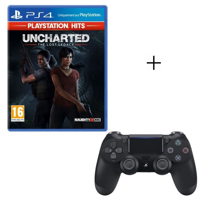 Pack PlayStation : Uncharted: The Lost Legacy PlayStation Hits + Manette PS4 DualShock 4 Noire V2 + Voucher Fortnite