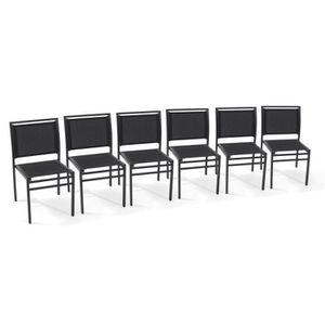 Lot de 6 chaises de jardin aluminium et textil?ne noir