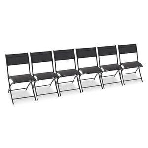 Lot de 6 chaises pliantes de jardin aluminium textil?ne noir