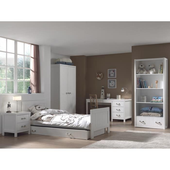 Chambre 6 pièces LEWIS en bois massif - Coloris : blanc - Lit gigogne 90x200 + chevet + armoire 2 portes + bureau + bibliothèque.CHAMBRE A COUCHER COMPLETE