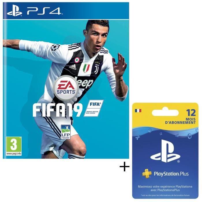 Pack FIFA 19 Jeu PS4 + Abonnement Playstation Plus 12 Mois