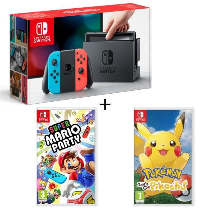Pack Nintendo Switch Néon + Super Mario Party + Pokémon : Let's go, Pikachu