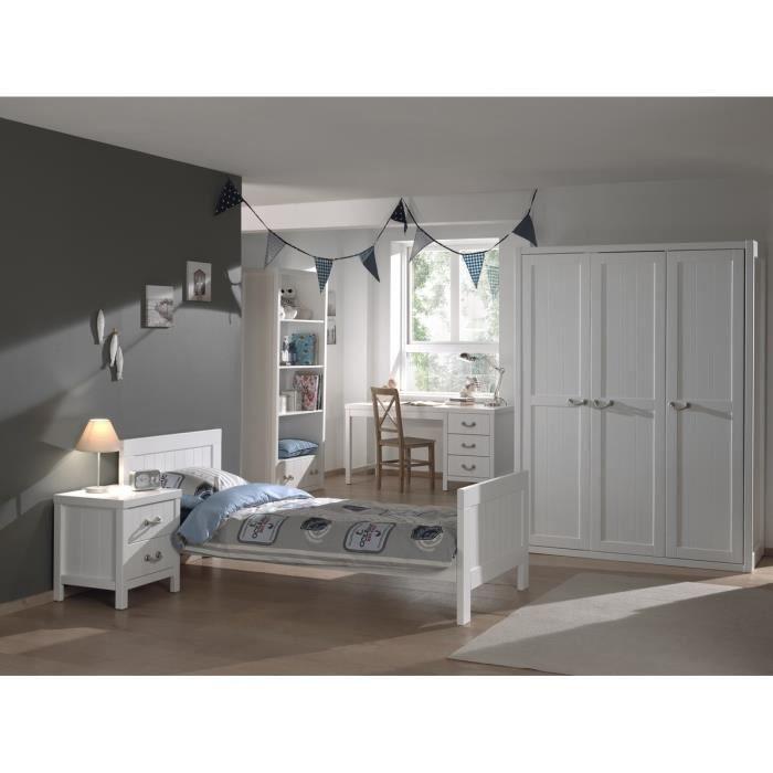 LEWIS chambre 5 pièces - Lit 90x200 + chevet + armoire 3 portes + bureau + bibliothèque - Blanc.CHAMBRE A COUCHER COMPLETE