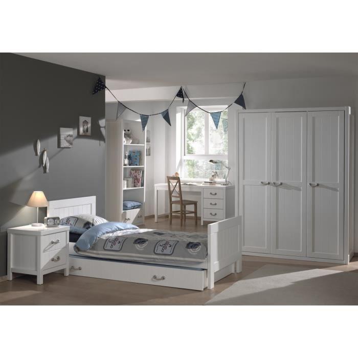 LEWIS chambre 6 pièces - Lit gigone 90x200 + chevet + armoire 3 portes + bureau + bibliothèque - Blanc.CHAMBRE A COUCHER COMPLETE