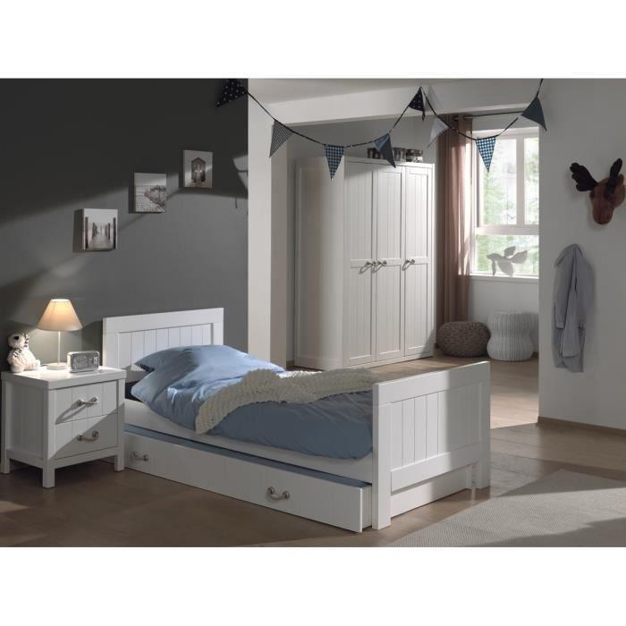 LEWIS chambre 4 pièces - Lit gigogne90x200 + chevet + armoire 3 portes - Blanc.CHAMBRE A COUCHER COMPLETE