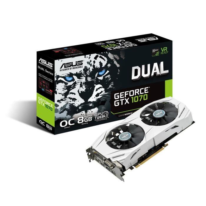 ASUS DUAL-GTX1070-O8G - Carte graphique - GeForce® GTX 1070 - 8 Go GDDR5 - PCIe 3.0 x16 - DVI - 2 x HDMICARTE GRAPHIQUE INTERNE