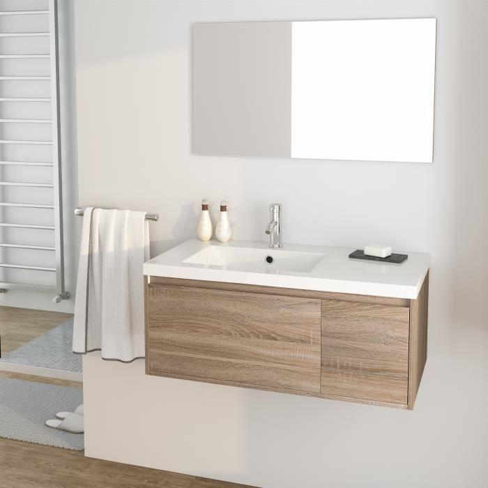 MDF et PVC décor sonoma - 1 meuble sous-vasque 90 cm + simple vasque + 1 miroirSALLE DE BAIN COMPLETE