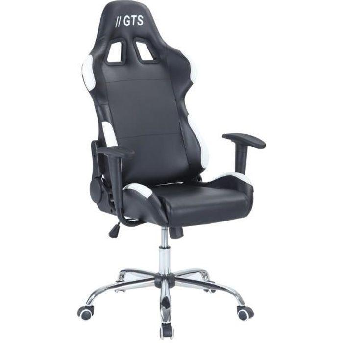 Chaise Gamer Baquet Race - Simili et PVC - Noir et blanc - L 68 x P 54,5 cm