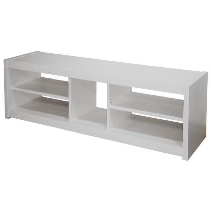 Panneaux de particules Blanc - L 125 x P 41 x H 36 cm - 4 niches et 1 espace console - Fabrication françaiseMEUBLE TV - MEUBLE HI-FI