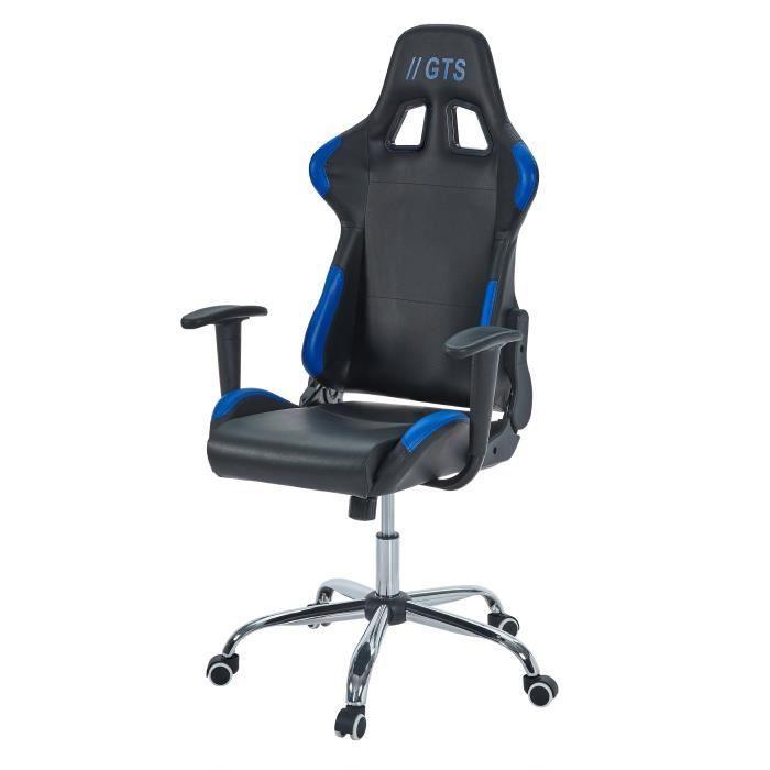Chaise Gamer Façon Siège Baquet Race noir et bleu