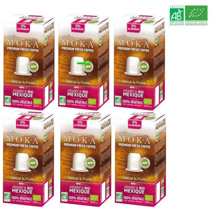 MOKA 60 capsules de café Arabica Mexique - Bio - Compatibles avec le système Nespresso®*