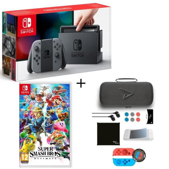 Pack nintendo switch grise super smash bros ultimate edition pack daccessoires steelplay 11 en 1