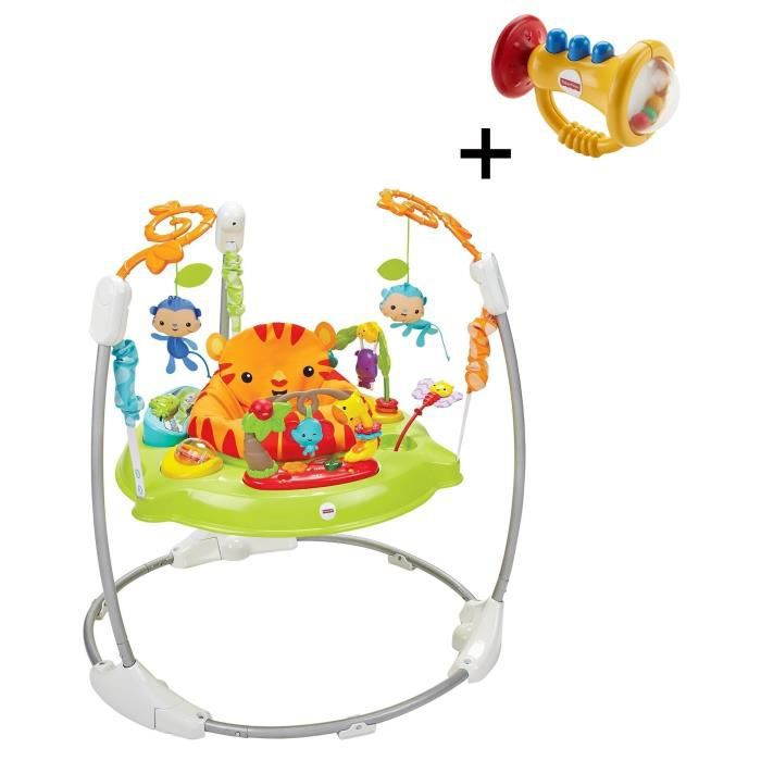 FISHER-PRICE - Trotteur Jumperoo Jungle - Sons & Lumières + Hochet Trompette