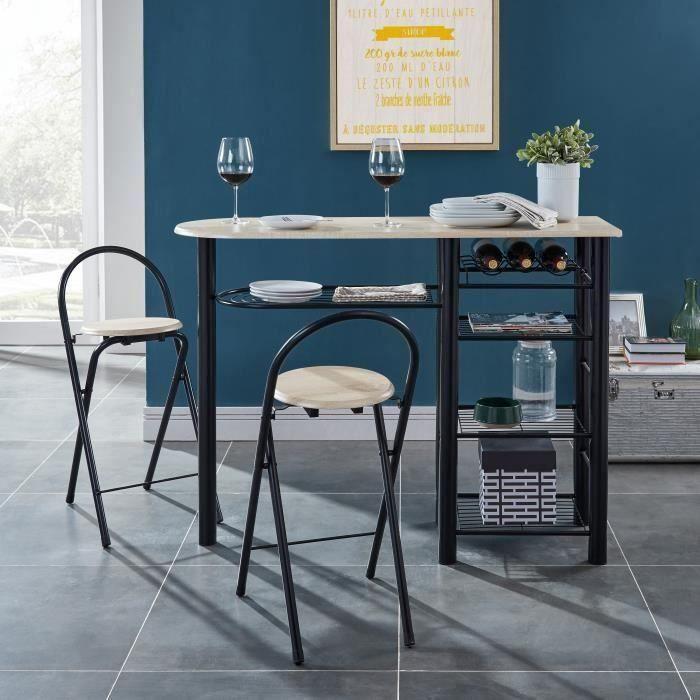 FIRST Ensemble table bar et tabourets contemporain en métal laqué noir et MDF revêtu de PVC décor ch