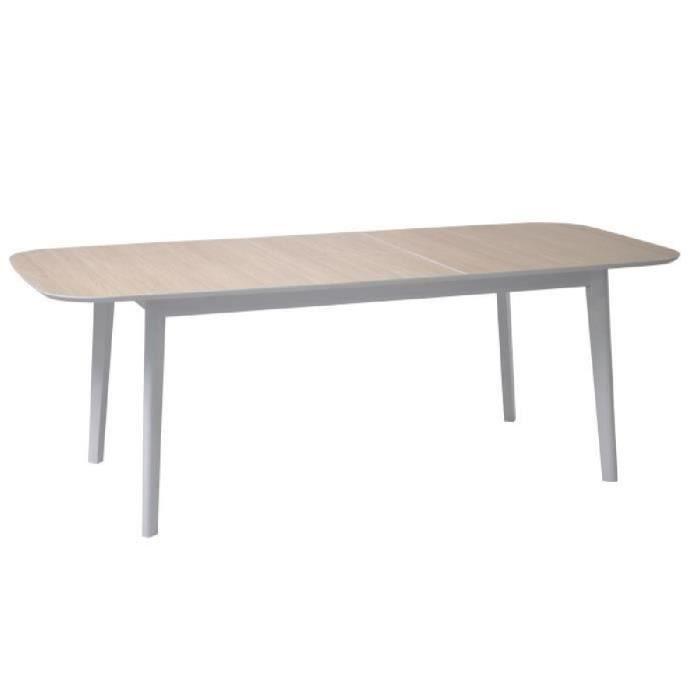 BLOCK Ensemble meubles de séjour: table à manger extensible + enfilade + bahut - Décor chêne aragon, blanc, gris perle et macadam