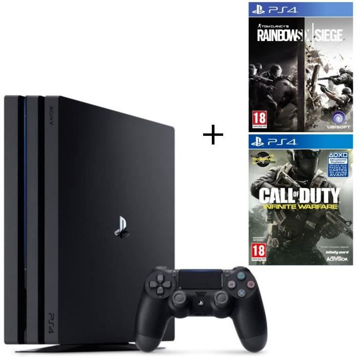 Pack PS4 Pro Noire 1 To + 2 Jeux PS4 : Rainbow Six Siege + Call of Duty Infinite Warfare
