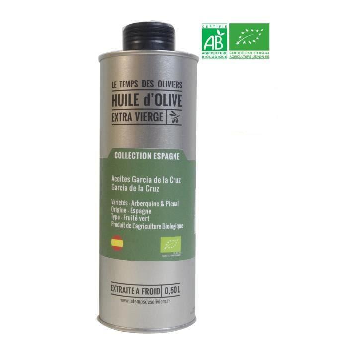 LE TEMPS DES OLIVIERS - Huile d'olive Extra Vierge BIO Extraite à froid Collection fruitée - 50 cl