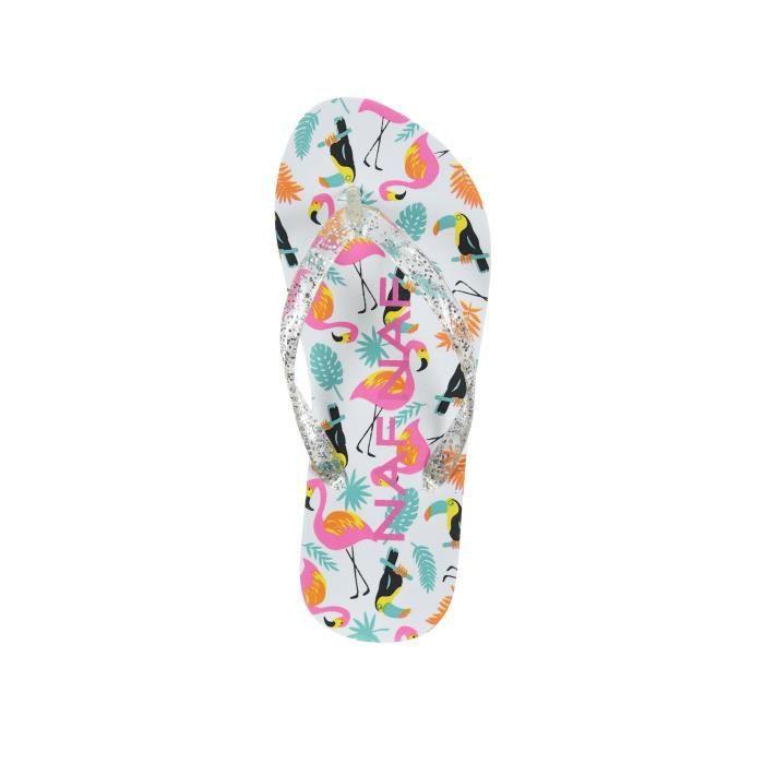 NAF NAF - Tongs Blanches Imprimées Flamingos + Pochette - Enfant Fille