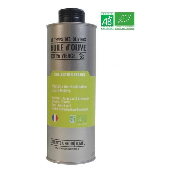 LE TEMPS DES OLIVIERS - Huile d'olive Extra Vierge Domaine des Bastidettes BIO Extraite à froid - 50 cl